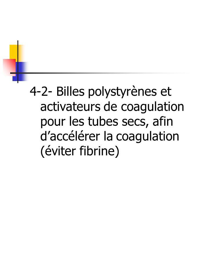 4-2- Billes polystyrènes et activateurs de coagulation pour les tubes secs, afin d'accélérer la coagulation (éviter fibrine)