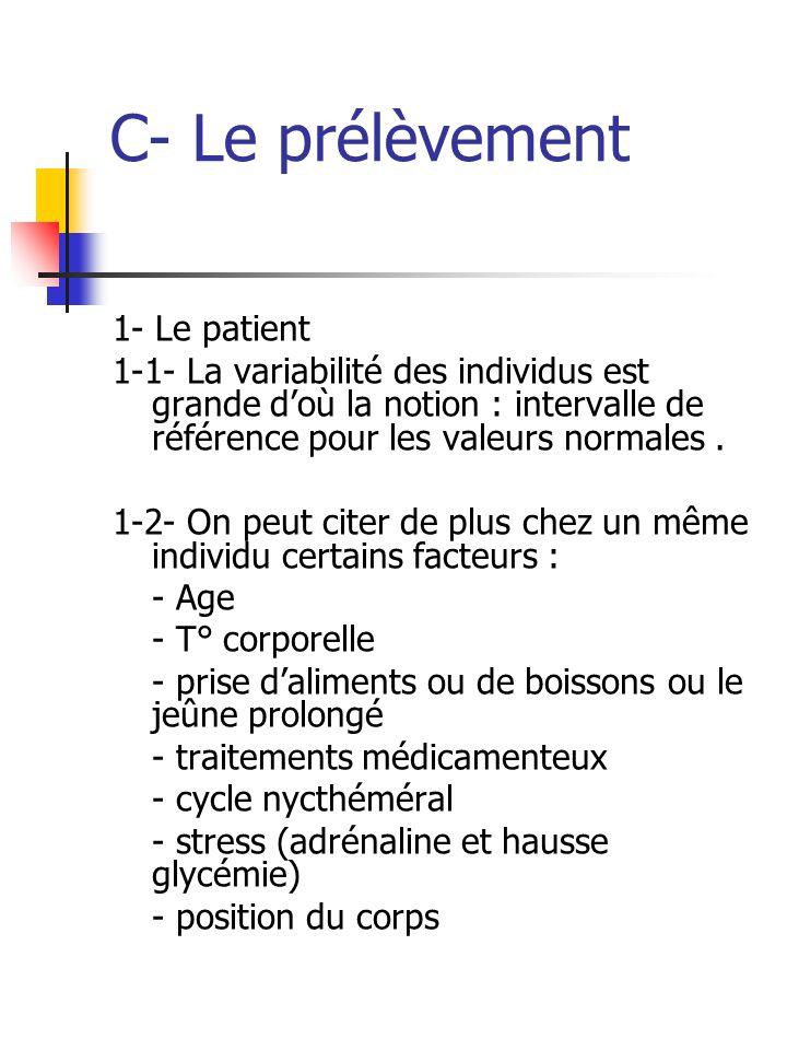 C- Le prélèvement 1- Le patient