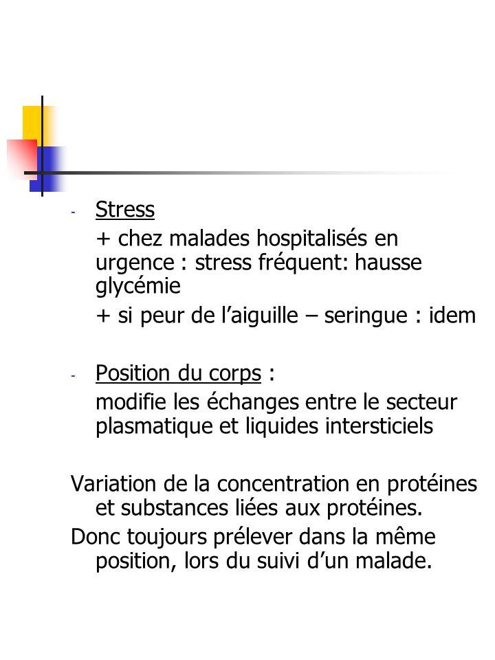 Stress + chez malades hospitalisés en urgence : stress fréquent: hausse glycémie. + si peur de l'aiguille – seringue : idem.