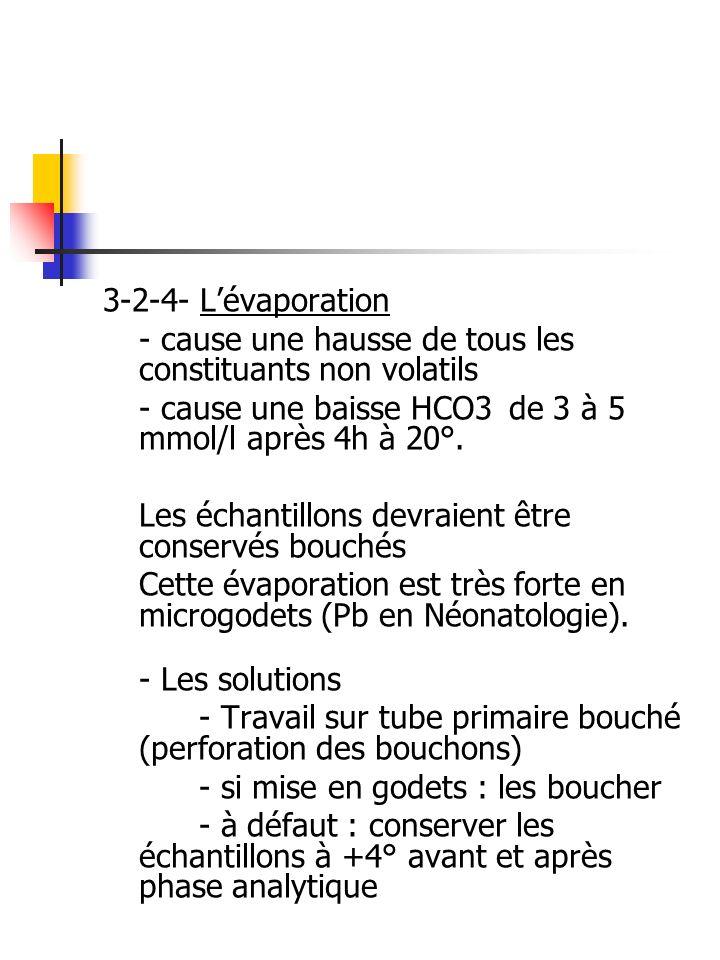 3-2-4- L'évaporation - cause une hausse de tous les constituants non volatils. - cause une baisse HCO3 de 3 à 5 mmol/l après 4h à 20°.