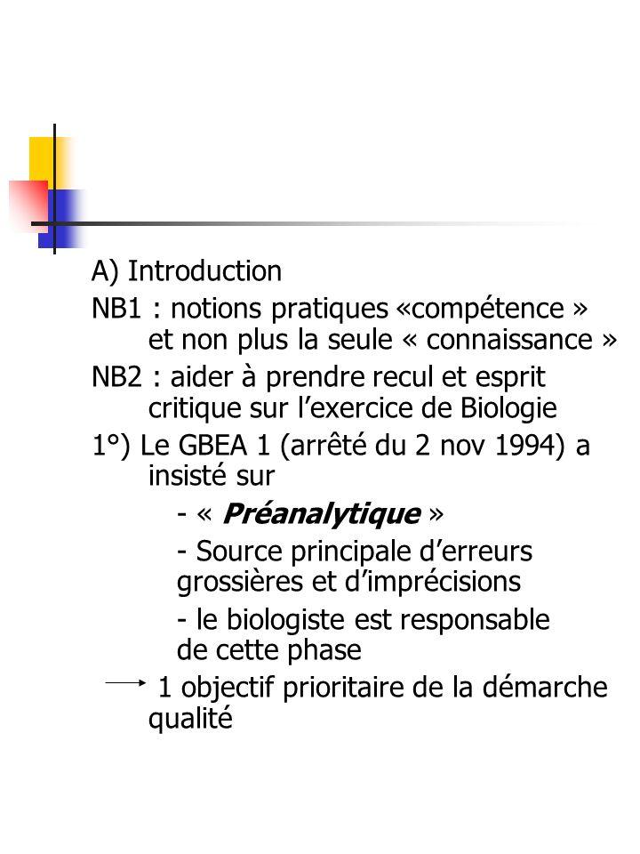 A) Introduction NB1 : notions pratiques «compétence » et non plus la seule « connaissance »
