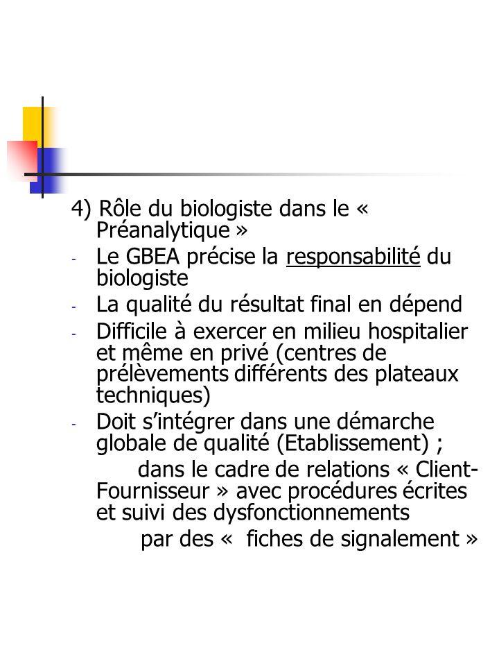 4) Rôle du biologiste dans le « Préanalytique »