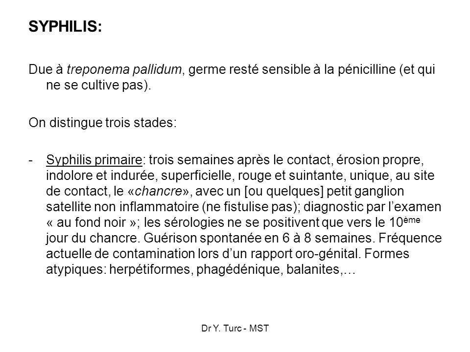 SYPHILIS: Due à treponema pallidum, germe resté sensible à la pénicilline (et qui ne se cultive pas).