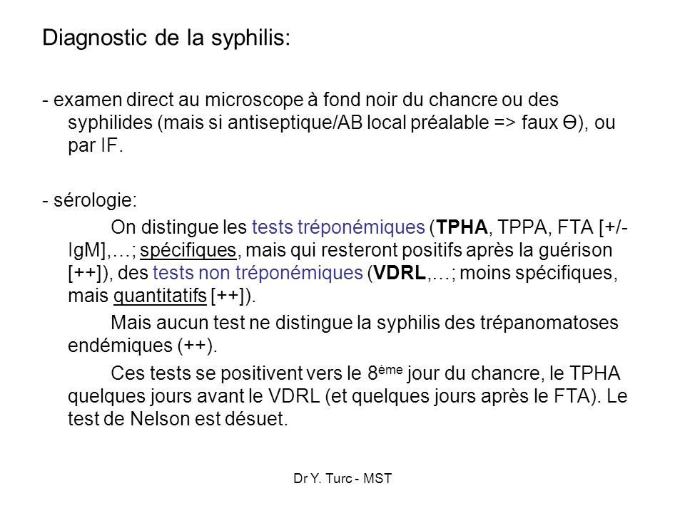 Diagnostic de la syphilis: