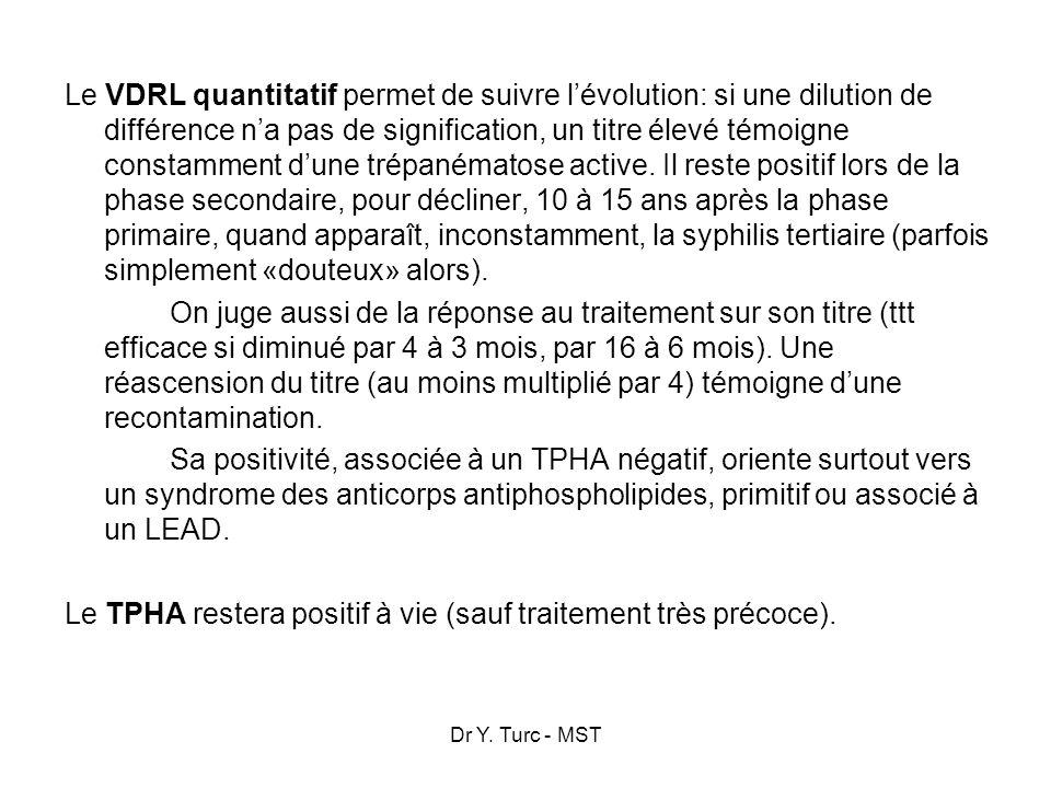 Le VDRL quantitatif permet de suivre l'évolution: si une dilution de différence n'a pas de signification, un titre élevé témoigne constamment d'une trépanématose active. Il reste positif lors de la phase secondaire, pour décliner, 10 à 15 ans après la phase primaire, quand apparaît, inconstamment, la syphilis tertiaire (parfois simplement «douteux» alors). On juge aussi de la réponse au traitement sur son titre (ttt efficace si diminué par 4 à 3 mois, par 16 à 6 mois). Une réascension du titre (au moins multiplié par 4) témoigne d'une recontamination. Sa positivité, associée à un TPHA négatif, oriente surtout vers un syndrome des anticorps antiphospholipides, primitif ou associé à un LEAD. Le TPHA restera positif à vie (sauf traitement très précoce).