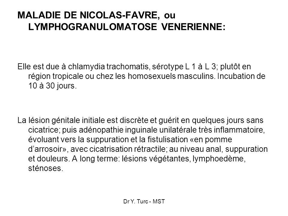 MALADIE DE NICOLAS-FAVRE, ou LYMPHOGRANULOMATOSE VENERIENNE: