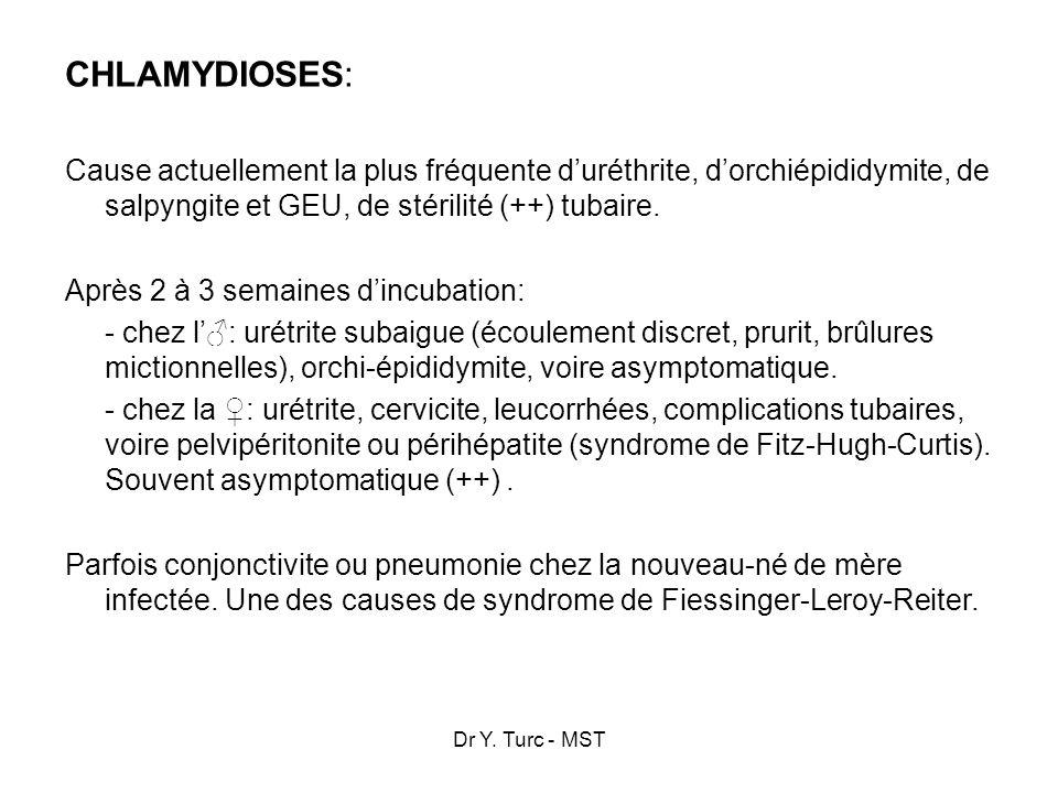 CHLAMYDIOSES: Cause actuellement la plus fréquente d'uréthrite, d'orchiépididymite, de salpyngite et GEU, de stérilité (++) tubaire.