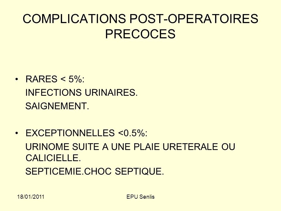 COMPLICATIONS POST-OPERATOIRES PRECOCES