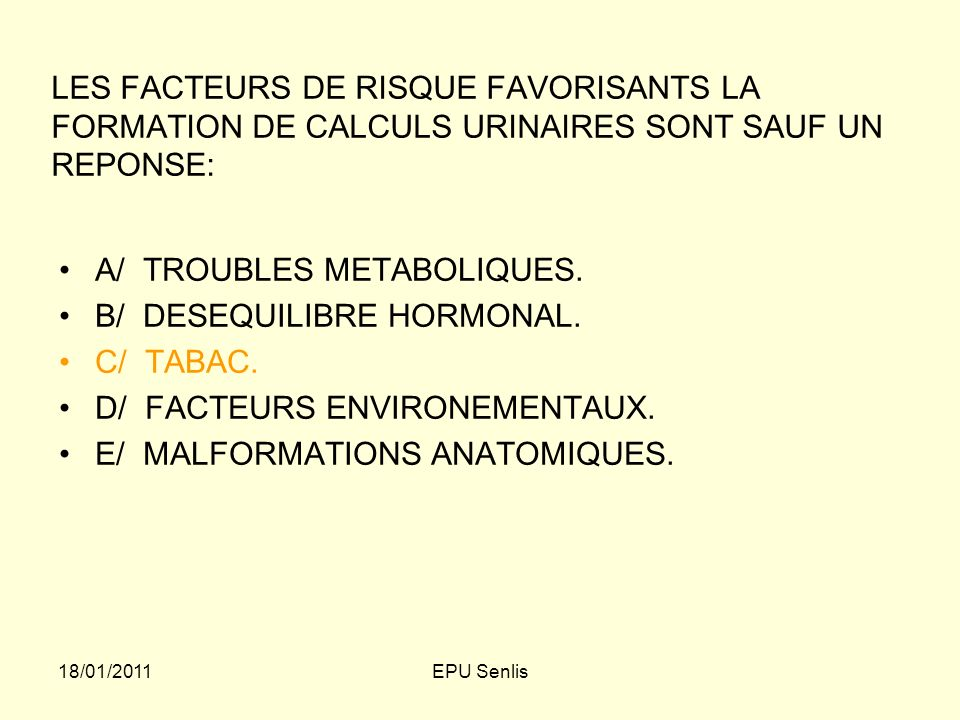 A/ TROUBLES METABOLIQUES. B/ DESEQUILIBRE HORMONAL. C/ TABAC.
