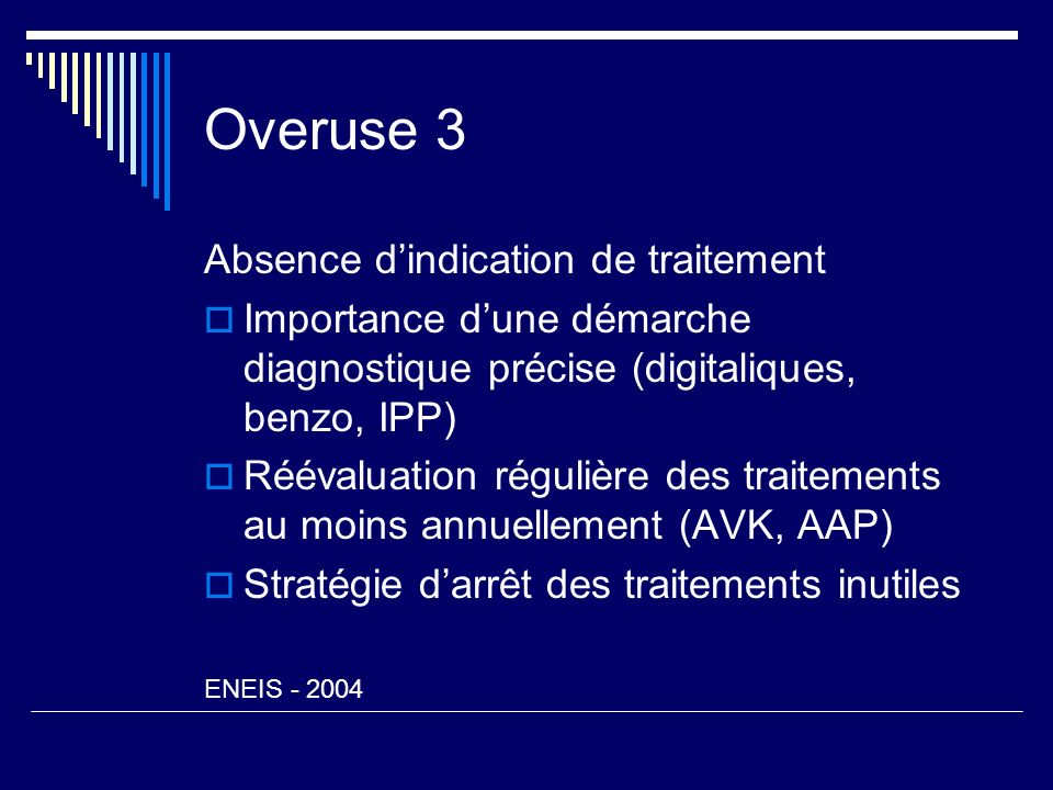 Overuse 3 Absence d'indication de traitement