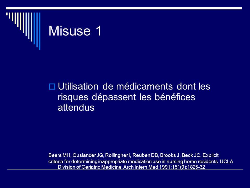 Misuse 1 Utilisation de médicaments dont les risques dépassent les bénéfices attendus.