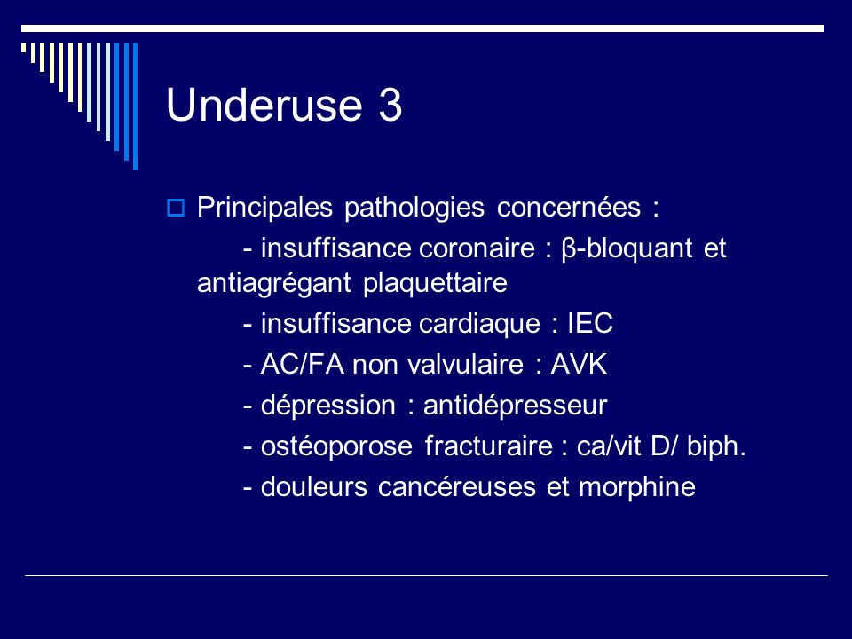 Underuse 3 Principales pathologies concernées :
