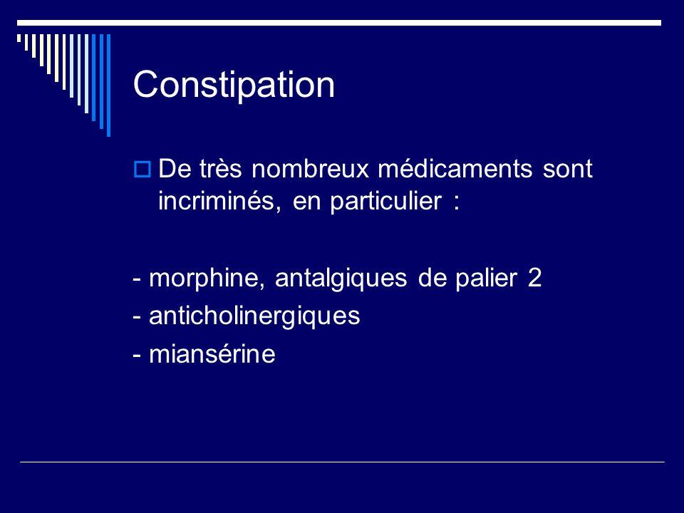 Constipation De très nombreux médicaments sont incriminés, en particulier : - morphine, antalgiques de palier 2.