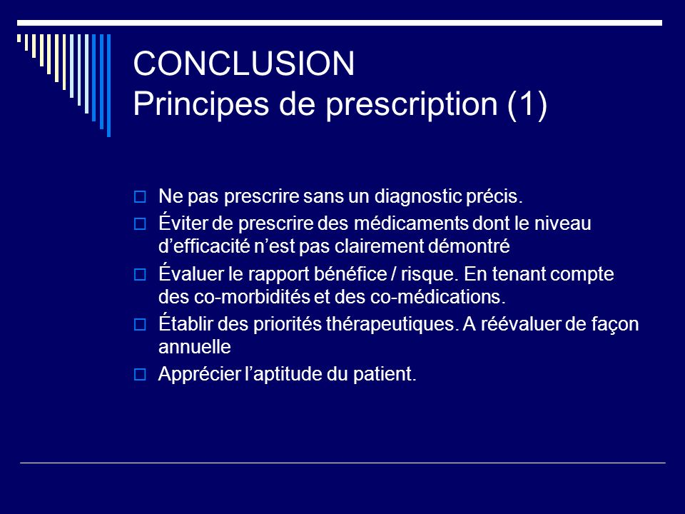 CONCLUSION Principes de prescription (1)