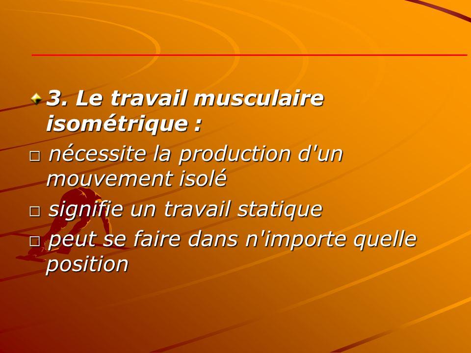 3. Le travail musculaire isométrique :
