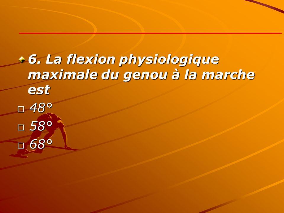 6. La flexion physiologique maximale du genou à la marche est