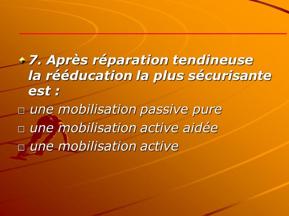 7. Après réparation tendineuse la rééducation la plus sécurisante est :