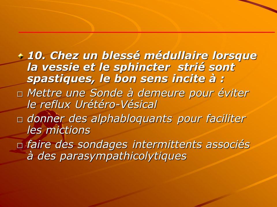 10. Chez un blessé médullaire lorsque la vessie et le sphincter strié sont spastiques, le bon sens incite à :