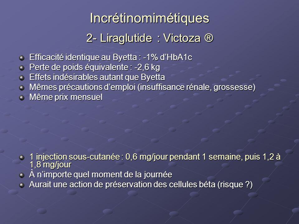 Incrétinomimétiques 2- Liraglutide : Victoza ®