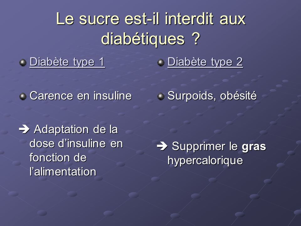 Le sucre est-il interdit aux diabétiques