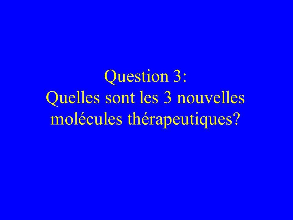 Question 3: Quelles sont les 3 nouvelles molécules thérapeutiques