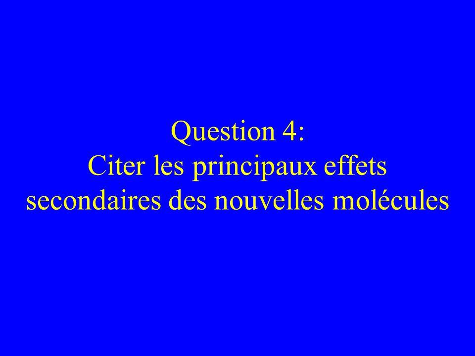 Question 4: Citer les principaux effets secondaires des nouvelles molécules