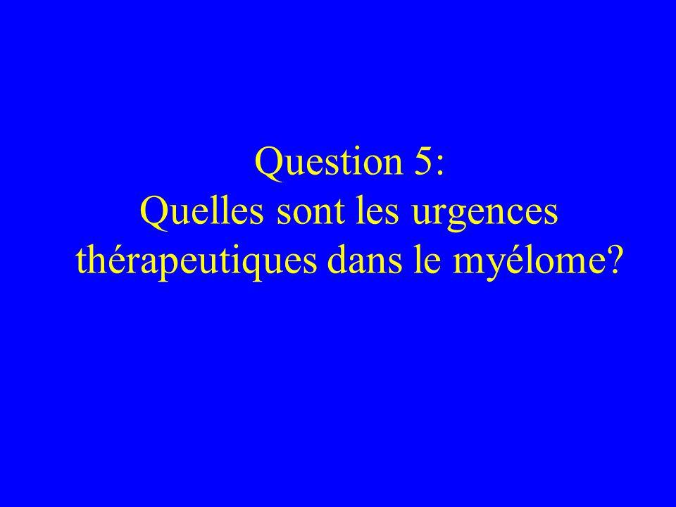 Question 5: Quelles sont les urgences thérapeutiques dans le myélome