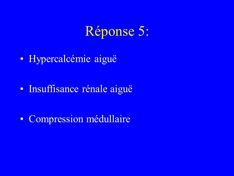 Réponse 5: Hypercalcémie aiguë Insuffisance rénale aiguë