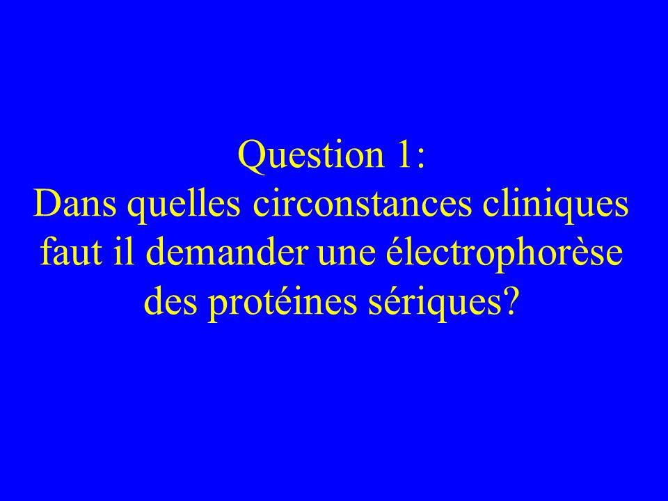Question 1: Dans quelles circonstances cliniques faut il demander une électrophorèse des protéines sériques