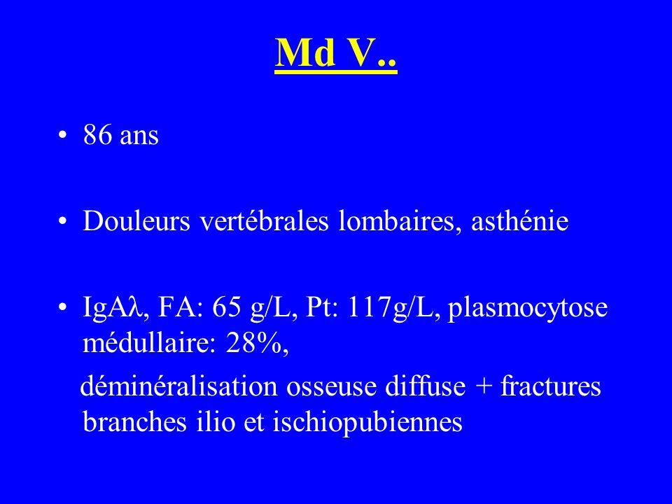 Md V.. 86 ans Douleurs vertébrales lombaires, asthénie