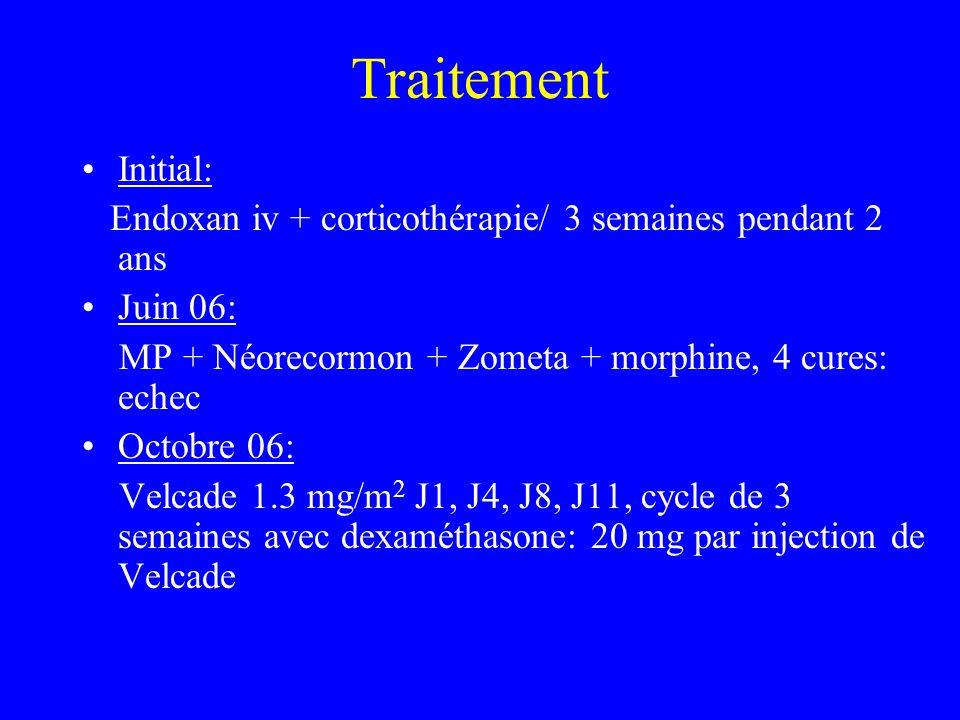 Traitement Initial: Endoxan iv + corticothérapie/ 3 semaines pendant 2 ans. Juin 06: MP + Néorecormon + Zometa + morphine, 4 cures: echec.