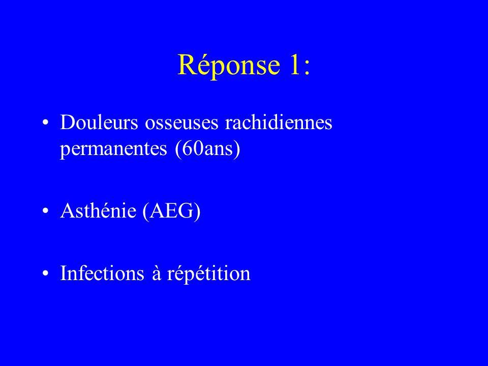 Réponse 1: Douleurs osseuses rachidiennes permanentes (60ans)