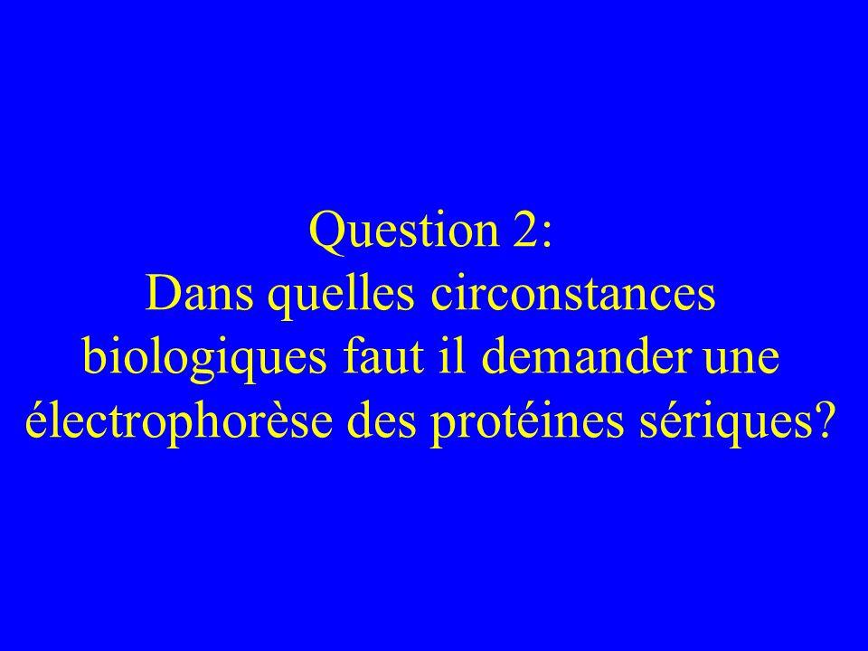 Question 2: Dans quelles circonstances biologiques faut il demander une électrophorèse des protéines sériques