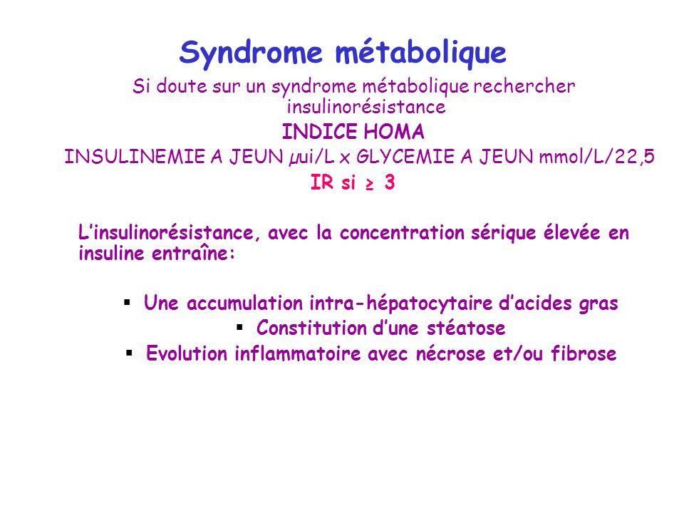 Syndrome métabolique Si doute sur un syndrome métabolique rechercher insulinorésistance. INDICE HOMA.