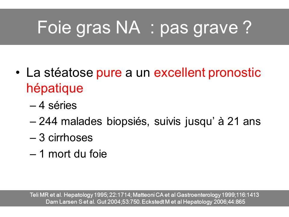 Foie gras NA : pas grave La stéatose pure a un excellent pronostic hépatique. 4 séries. 244 malades biopsiés, suivis jusqu' à 21 ans.