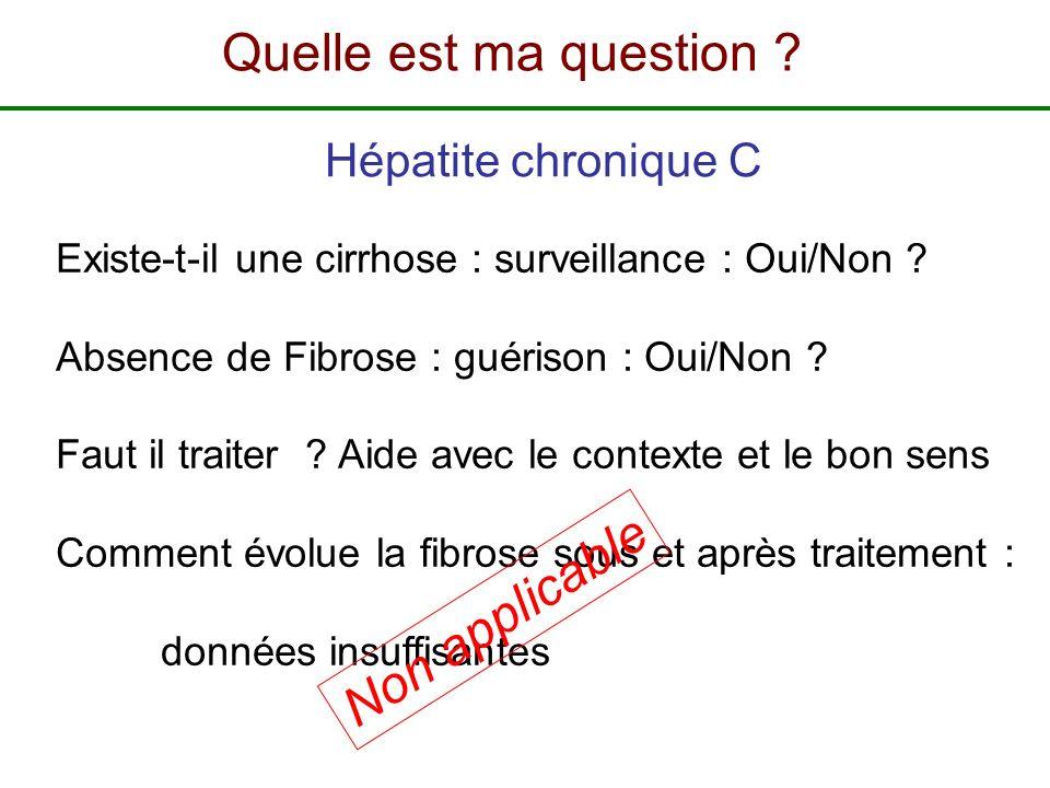 Quelle est ma question Non applicable Hépatite chronique C
