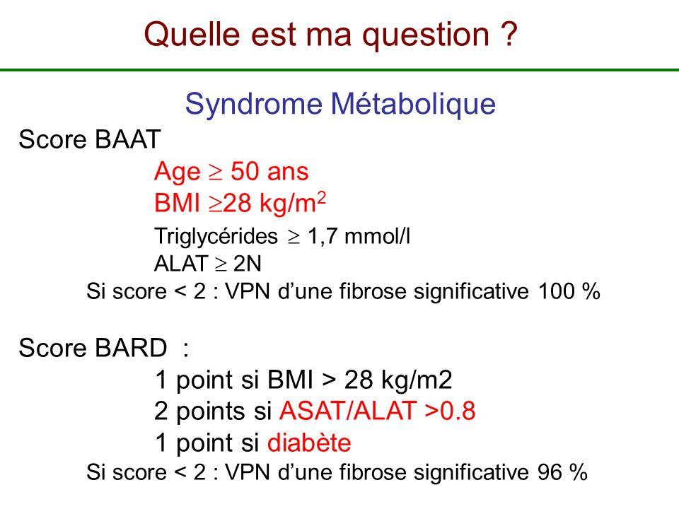 Quelle est ma question Syndrome Métabolique Score BAAT Age  50 ans