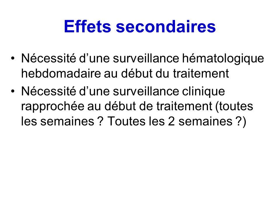 Effets secondaires Nécessité d'une surveillance hématologique hebdomadaire au début du traitement.