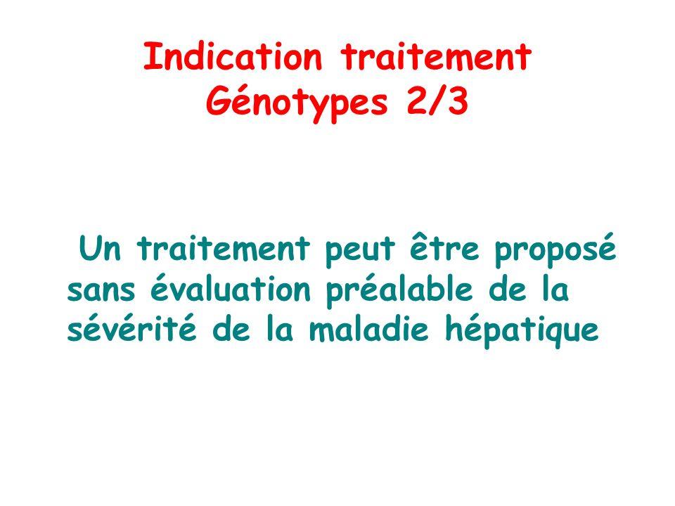 Indication traitement Génotypes 2/3