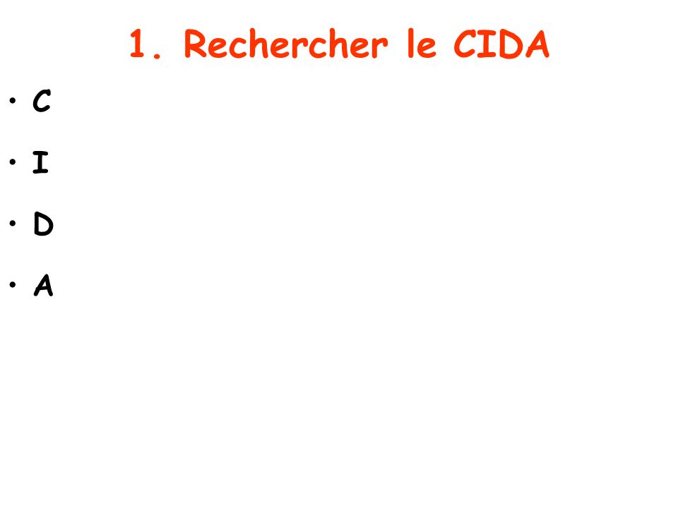 1. Rechercher le CIDA C I D A