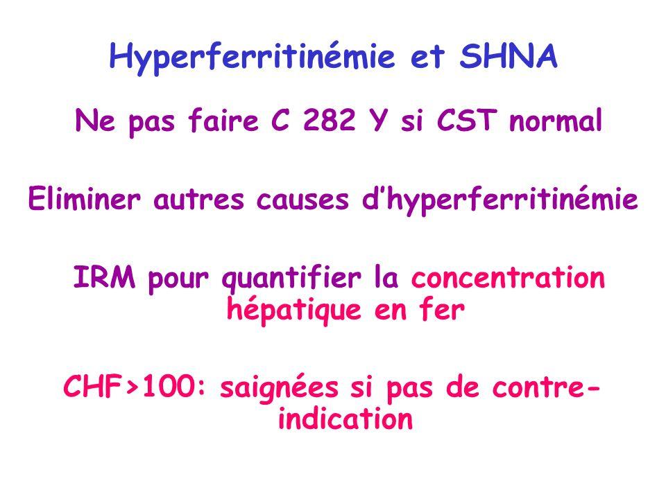 Hyperferritinémie et SHNA