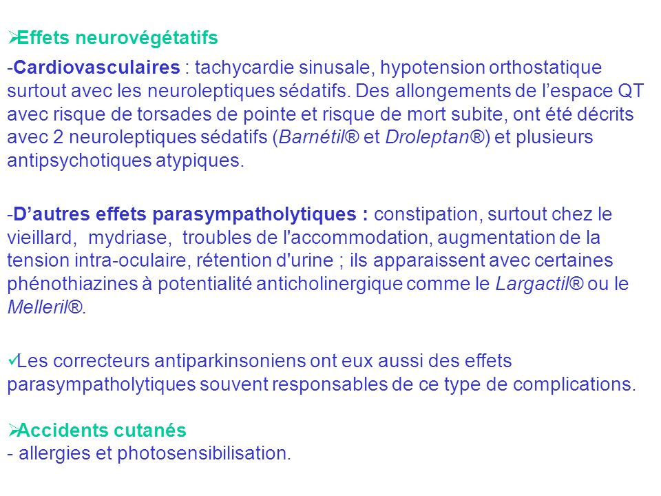 Effets neurovégétatifs