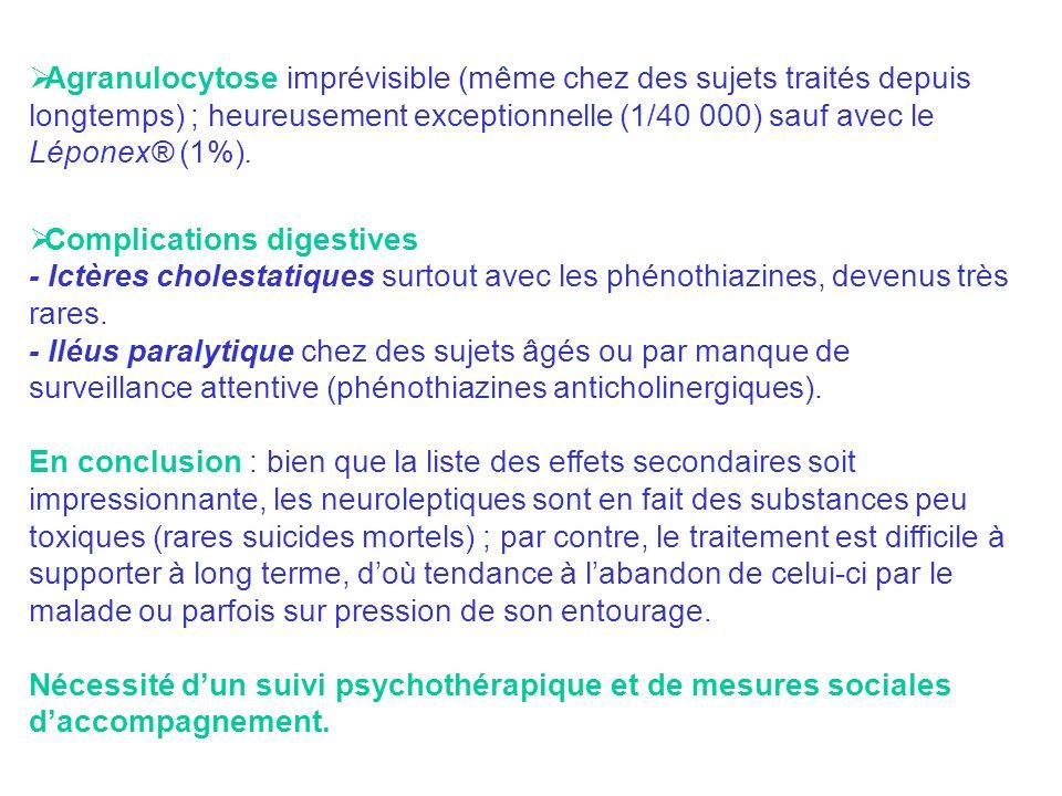 Agranulocytose imprévisible (même chez des sujets traités depuis longtemps) ; heureusement exceptionnelle (1/40 000) sauf avec le Léponex® (1%).