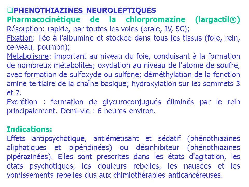 PHENOTHIAZINES NEUROLEPTIQUES