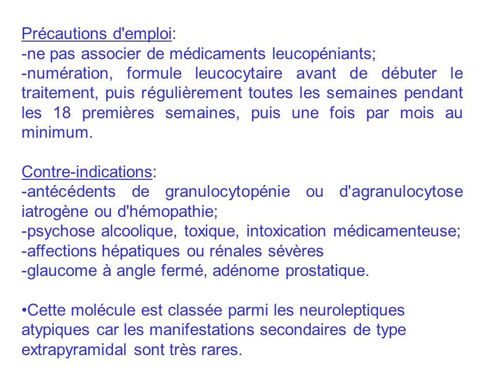 Précautions d emploi: -ne pas associer de médicaments leucopéniants;