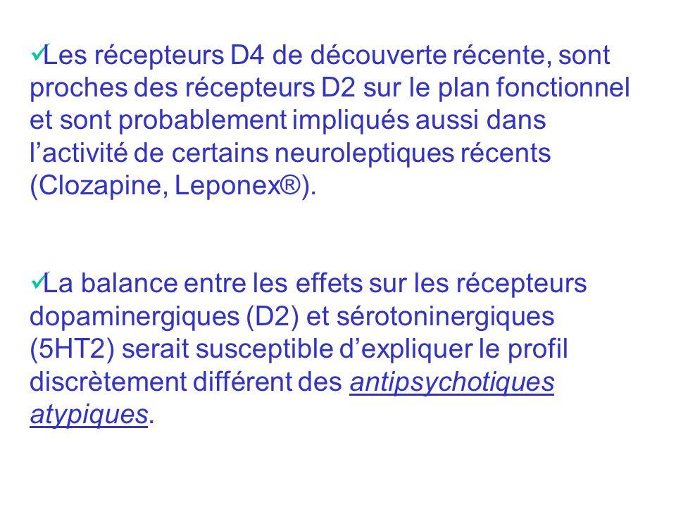 Les récepteurs D4 de découverte récente, sont proches des récepteurs D2 sur le plan fonctionnel et sont probablement impliqués aussi dans l'activité de certains neuroleptiques récents (Clozapine, Leponex®).
