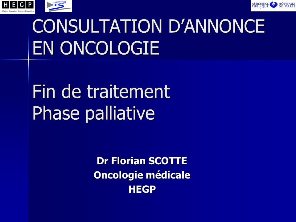 CONSULTATION D'ANNONCE EN ONCOLOGIE Fin de traitement Phase palliative