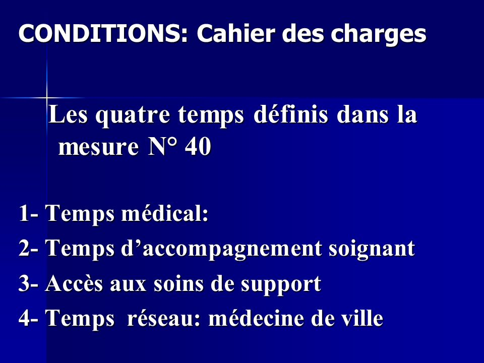 CONDITIONS: Cahier des charges