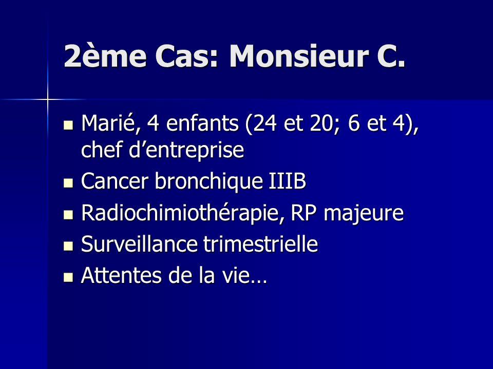 2ème Cas: Monsieur C. Marié, 4 enfants (24 et 20; 6 et 4), chef d'entreprise. Cancer bronchique IIIB.