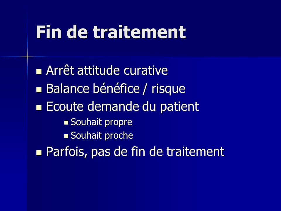 Fin de traitement Arrêt attitude curative Balance bénéfice / risque